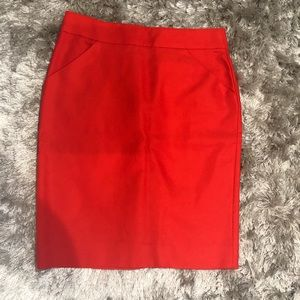 Red J. Crew Pencil Skirt NWT